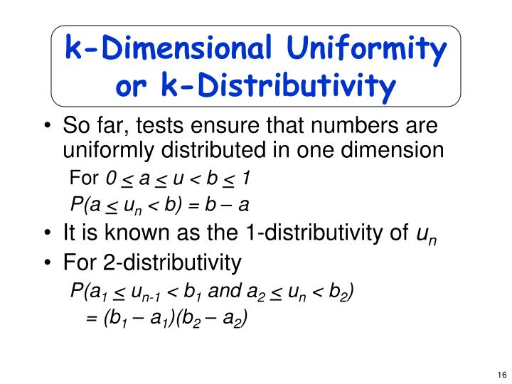 k-Dimensional Uniformity or k-