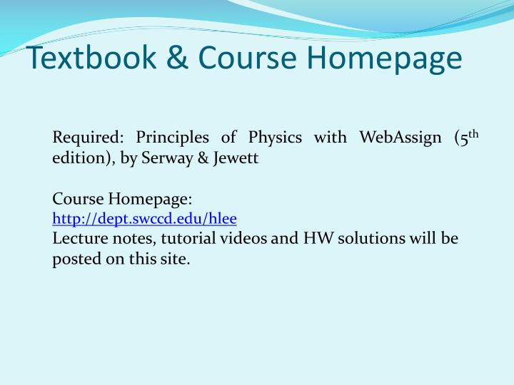 Textbook & Course Homepage