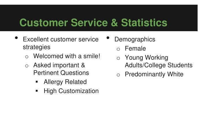 Customer Service & Statistics
