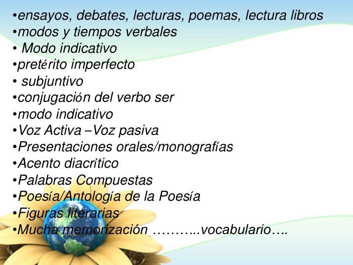 ensayos, debates, lecturas, poemas, lectura libros