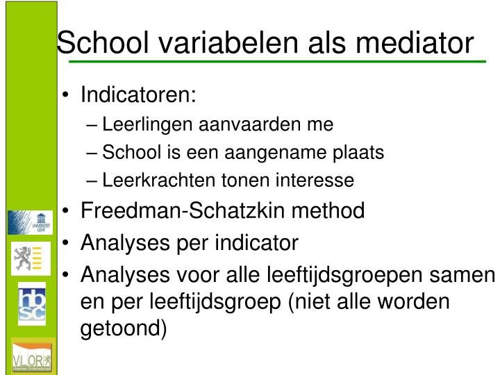 School variabelen als mediator