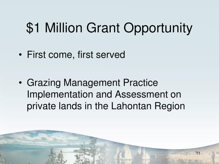 $1 Million Grant Opportunity