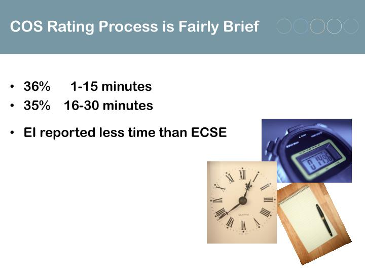 COS Rating Process is Fairly Brief