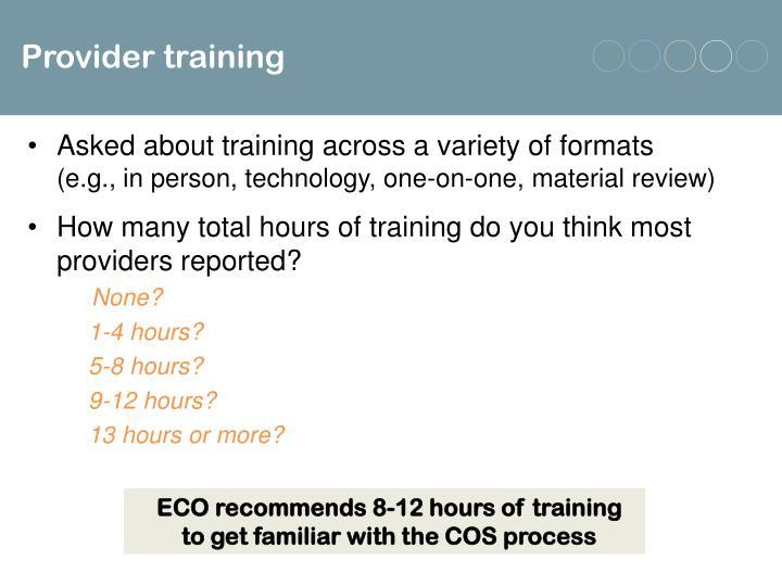 Provider training