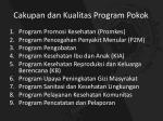 cakupan dan kualitas program pokok