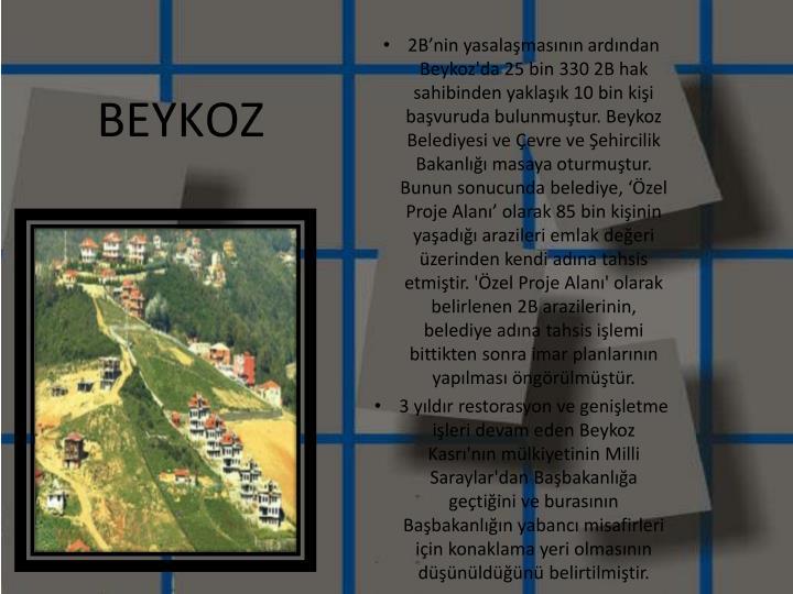 2B'nin yasalaşmasının ardından Beykoz'da 25 bin 330 2B hak sahibinden yaklaşık 10 bin kişi başvuruda bulunmuştur. Beykoz Belediyesi ve Çevre ve Şehircilik Bakanlığı masaya oturmuştur. Bunun sonucunda belediye, 'Özel Proje Alanı' olarak 85 bin kişinin yaşadığı arazileri emlak değeri üzerinden kendi adına tahsis etmiştir. 'Özel Proje Alanı' olarak belirlenen 2B arazilerinin, belediye adına tahsis işlemi bittikten sonra imar planlarının yapılması öngörülmüştür.