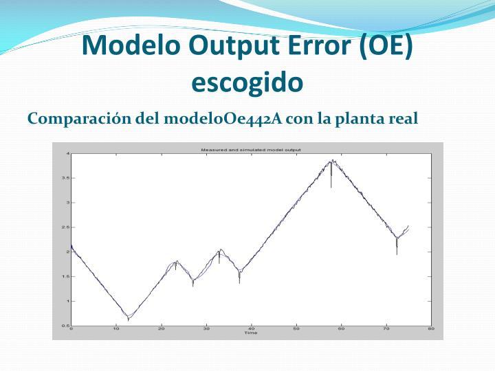 Modelo Output Error (OE) escogido