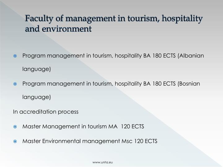 Faculty of management in tourism, hospitality and environment