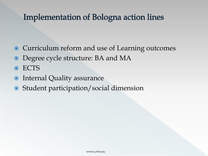 Implementation of Bologna action lines