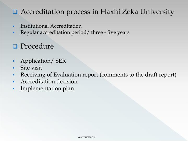 Accreditation process in