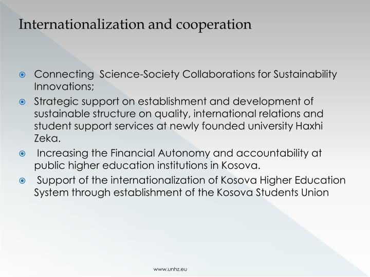 Internationalization and cooperation