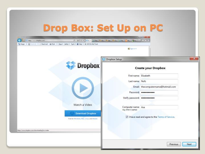 Drop Box: Set Up on PC