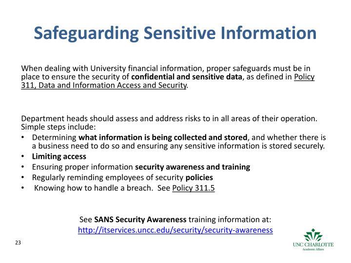 Safeguarding Sensitive Information