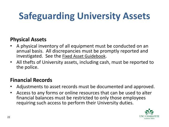 Safeguarding University Assets