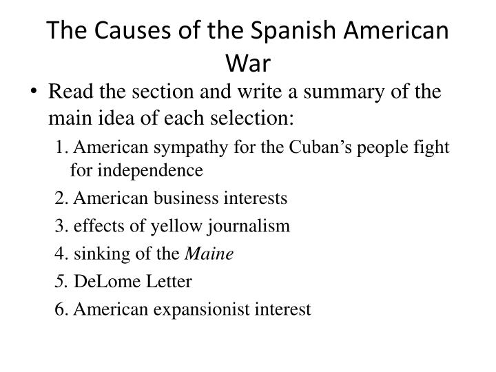 The causes of the spanish american war