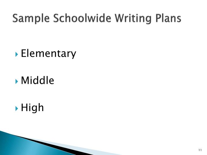 Sample Schoolwide Writing Plans