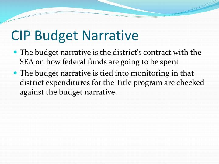 CIP Budget Narrative