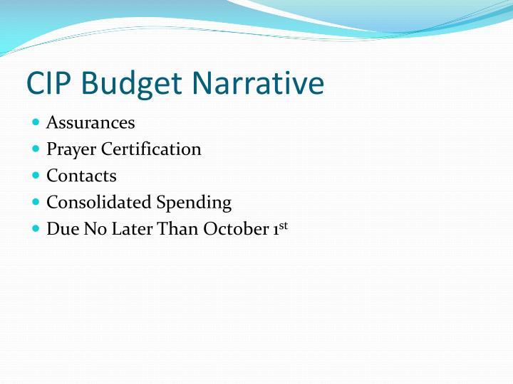 CIP Budget Narrative