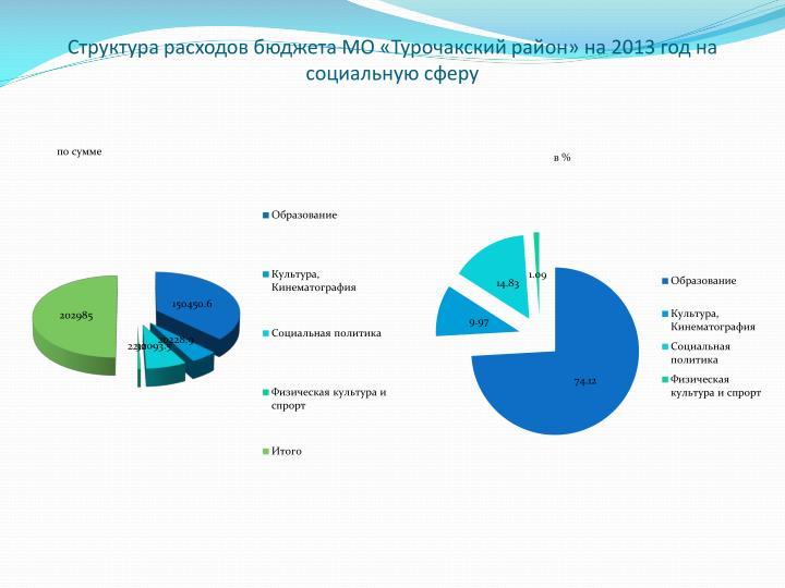 Структура расходов бюджета МО «Турочакский район» на 2013 год на социальную сферу