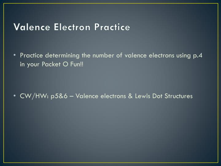 Valence Electron Practice