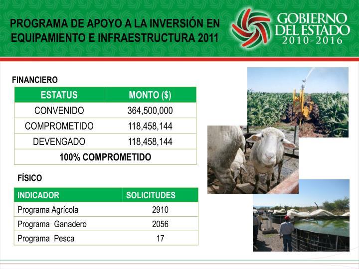PROGRAMA DE APOYO A LA INVERSIÓN EN EQUIPAMIENTO E INFRAESTRUCTURA 2011