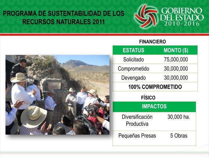 PROGRAMA DE SUSTENTABILIDAD DE LOS RECURSOS NATURALES 2011