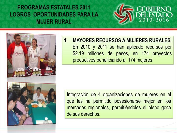 PROGRAMAS ESTATALES 2011