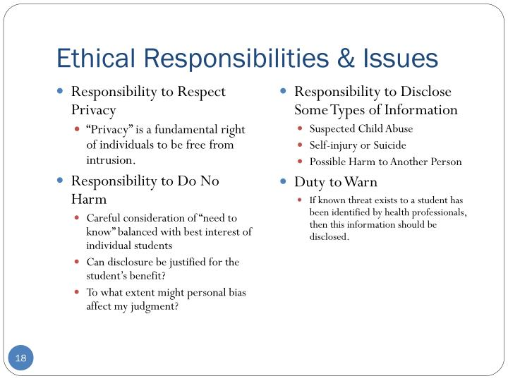 Ethical Responsibilities & Issues