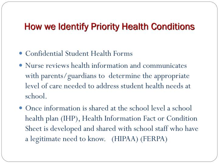 How we Identify Priority Health Conditions