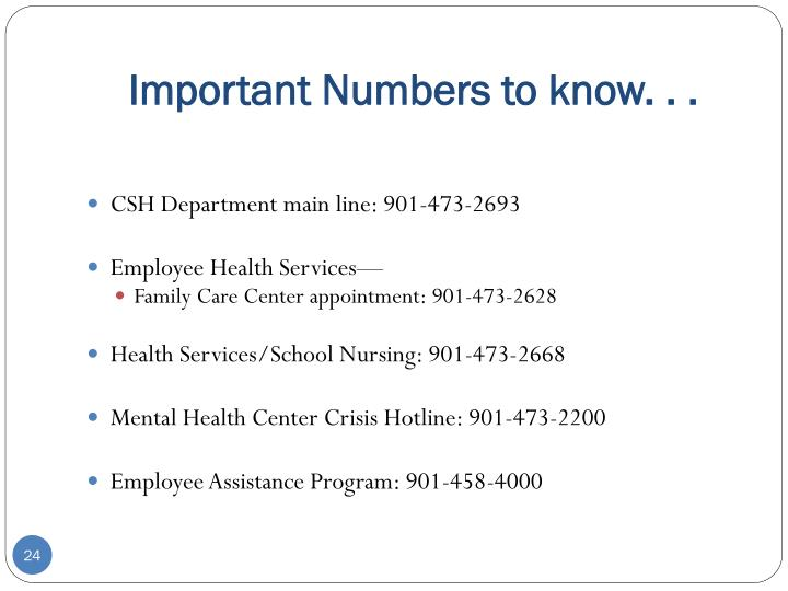 Important Numbers to know. . .