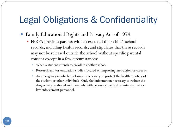 Legal Obligations & Confidentiality