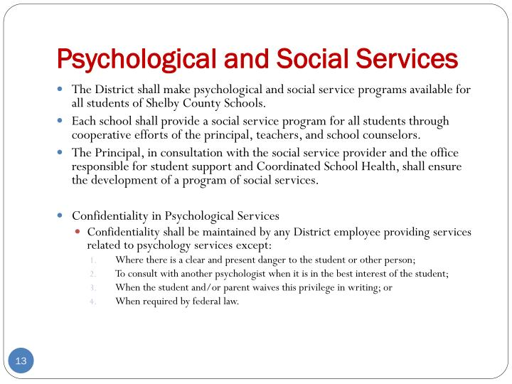 Psychological and Social Services
