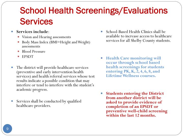 School Health Screenings/Evaluations Services