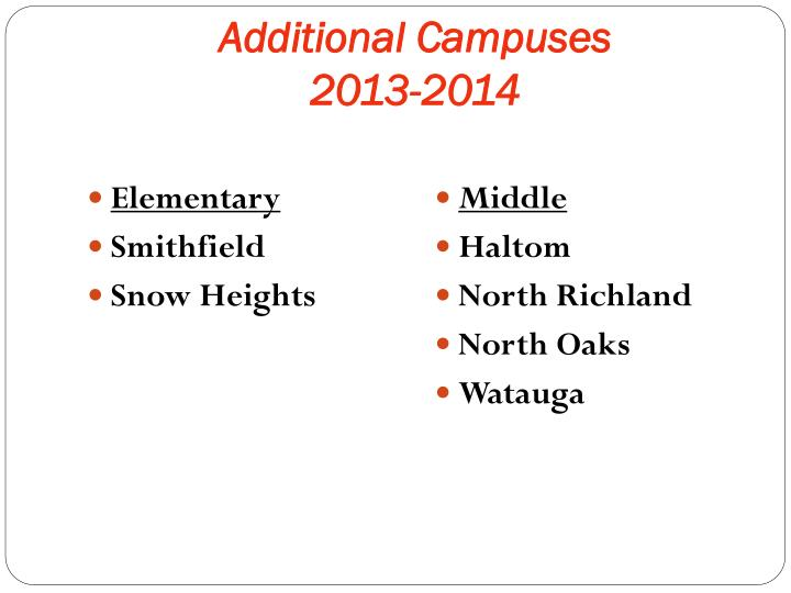 Additional Campuses