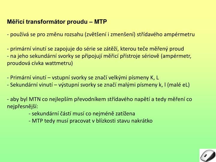 Měřicí transformátor proudu – MTP