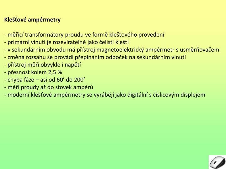 Klešťové ampérmetry