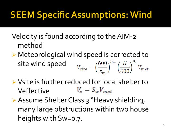 SEEM Specific Assumptions: Wind