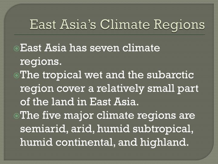 East Asia's Climate Regions