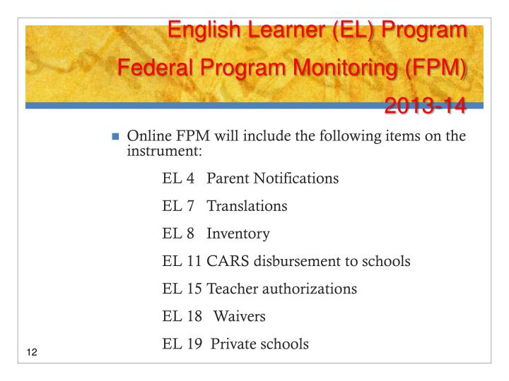 English Learner (EL) Program