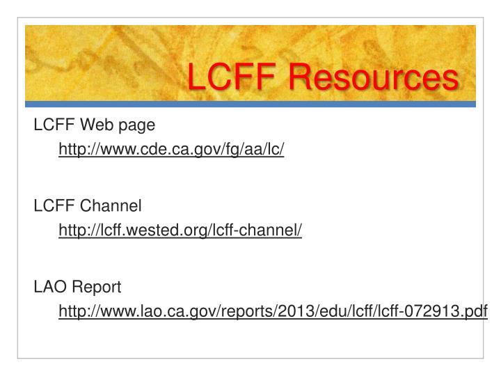 LCFF Resources