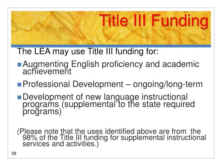 Title III Funding