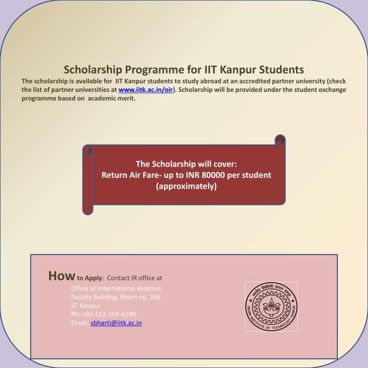 Scholarship Programme for IIT Kanpur Students