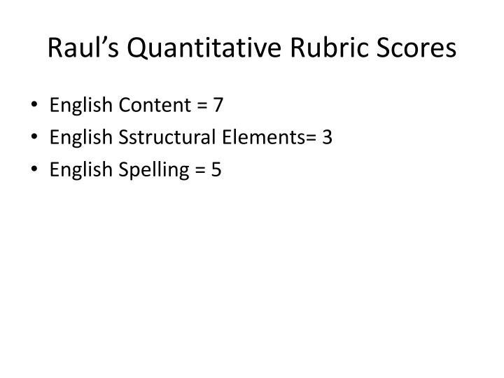 Raul's Quantitative Rubric Scores