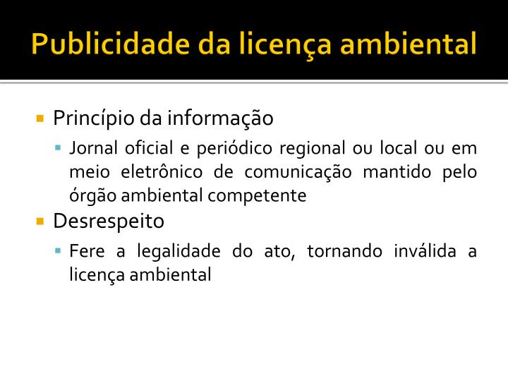 Publicidade da licença ambiental