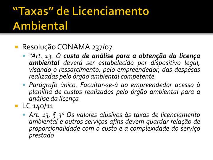 """""""Taxas"""" de Licenciamento Ambiental"""