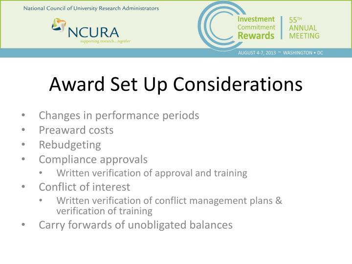 Award Set Up Considerations