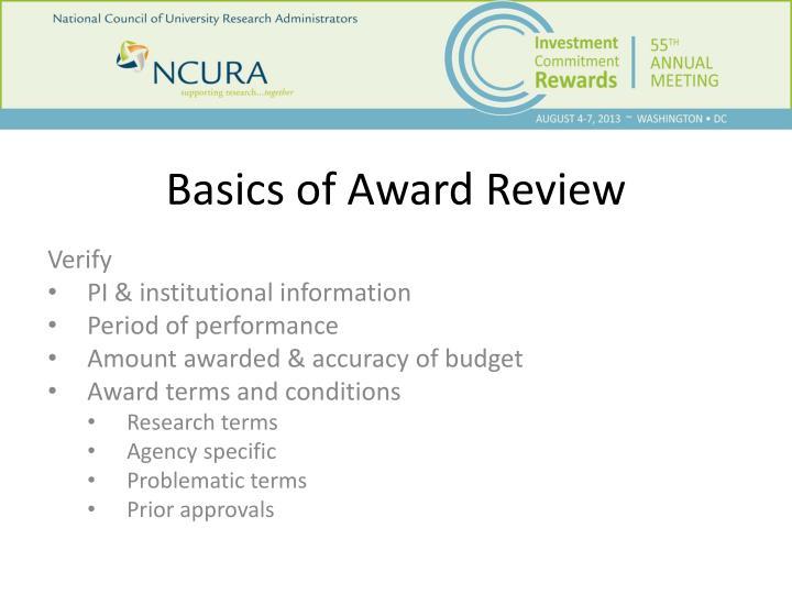 Basics of Award