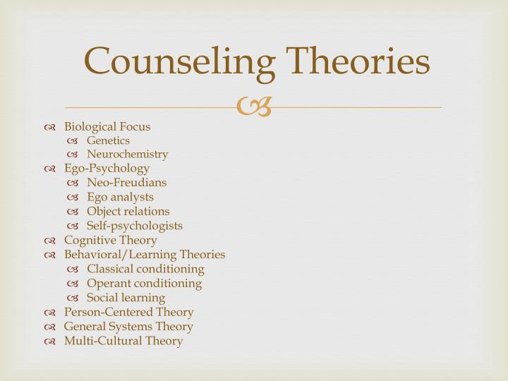 counselling theories By tanya glover abstract the counselor described in this paper has chosen to put herself in the position of imagining herself working in a private practice.