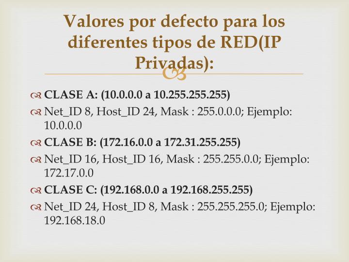 Valores por defecto para los diferentes tipos de RED(IP Privadas):
