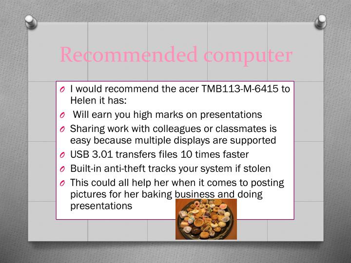 Recommended computer